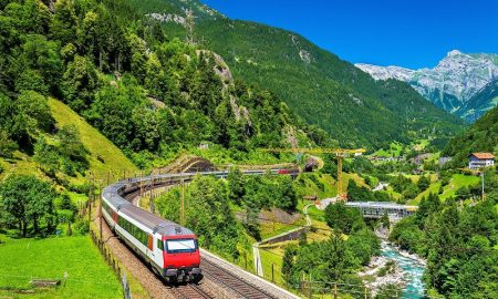 Intercity Train At The Gotthard Railway Switzerland