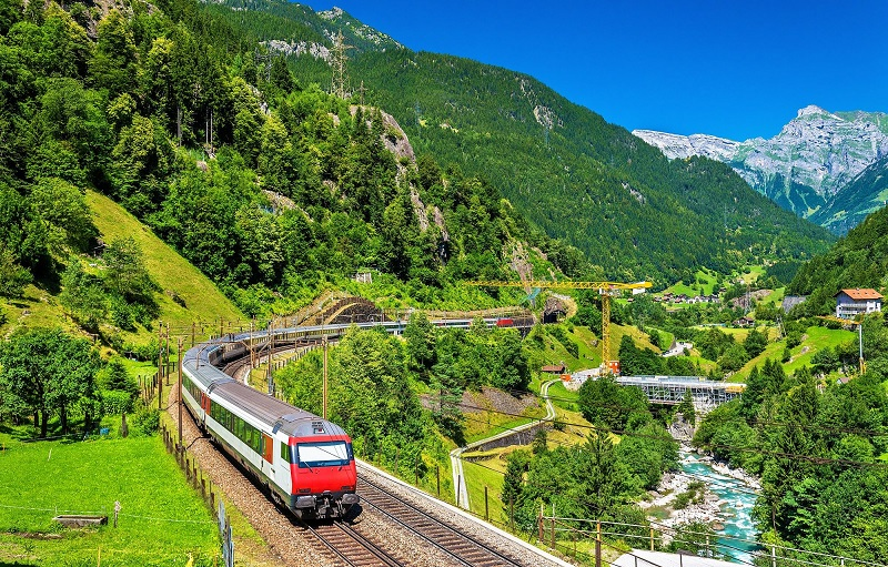 Intercity Train At The Gotthard Railway Switzerland