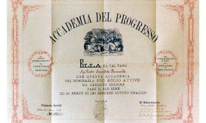 Un diploma dell'Accademia Del Progresso