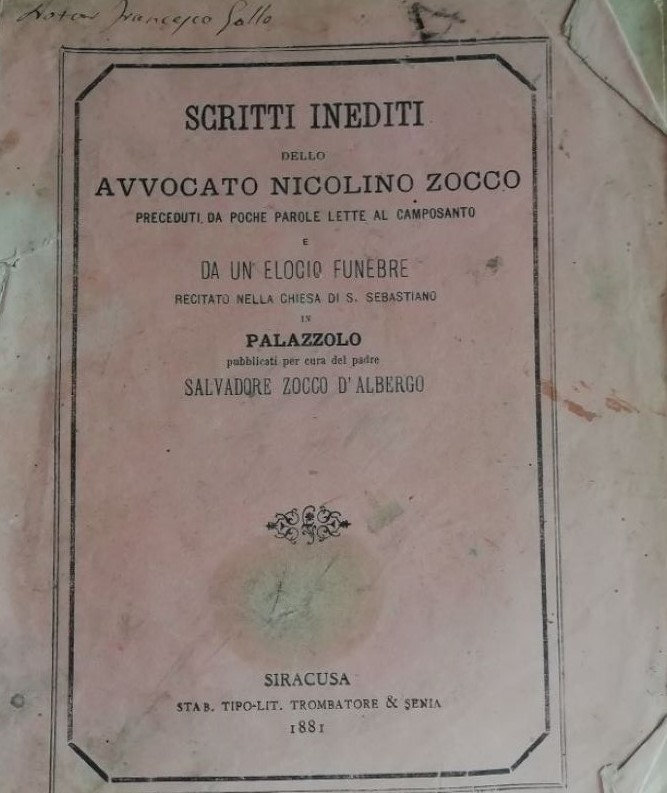 Scritti Inediti di zocco, di cui fu precettore Giuseppe D'Albergo