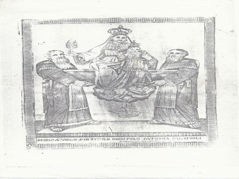 la Madonna Odigitria rappresentata con i due calogeri e bambin Gesù in braccio in Chiesa di San Sebastiano