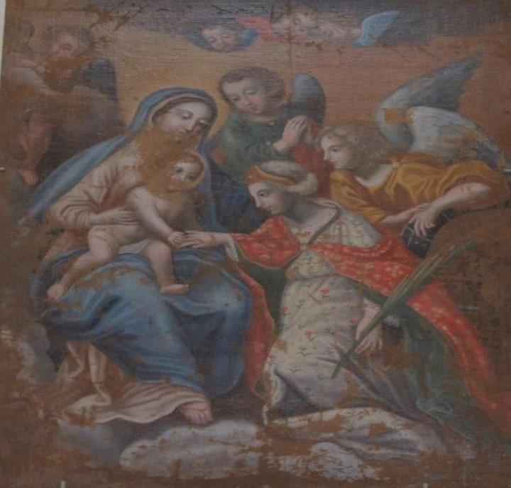 Tela di Santa Caterina, presso la Chiesa Madre. Matrimonio mistico e palma del martirio foto Santoro Ugo