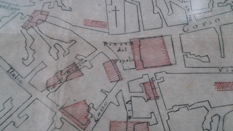 La mappa che riproduce il centro di Palazzolo colpito dal bombardamento della seconda Guerra mondiale