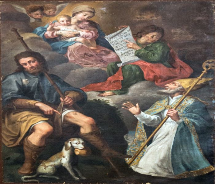 Chiesa di San Sebastiano: San Rocco e San Giacomo, tela del 1720, autore Didomenico