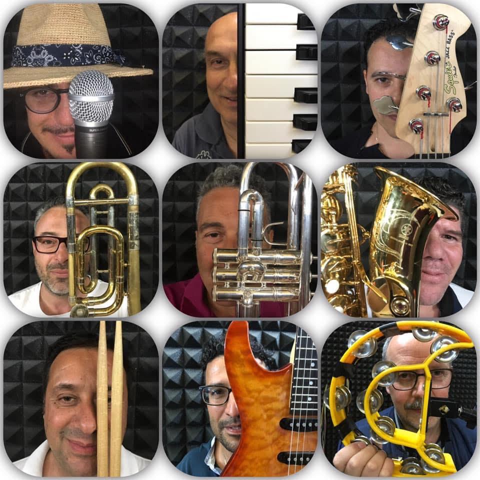 Ogni componente della Baciami Piccina swing band con il proprio strumento