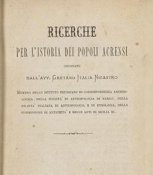 Gaetano Italia Nicastro ricerche sui popoli acrensi