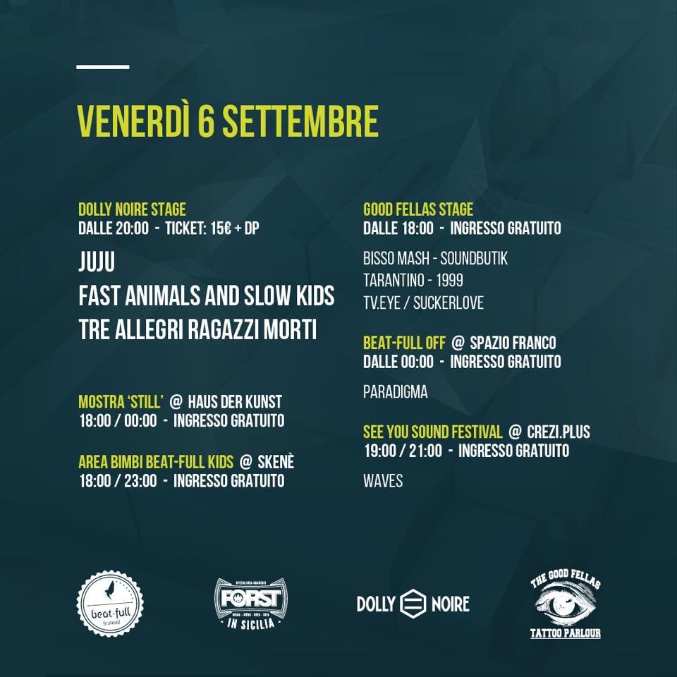Programma venerdì 6/09 Beat Full Festival
