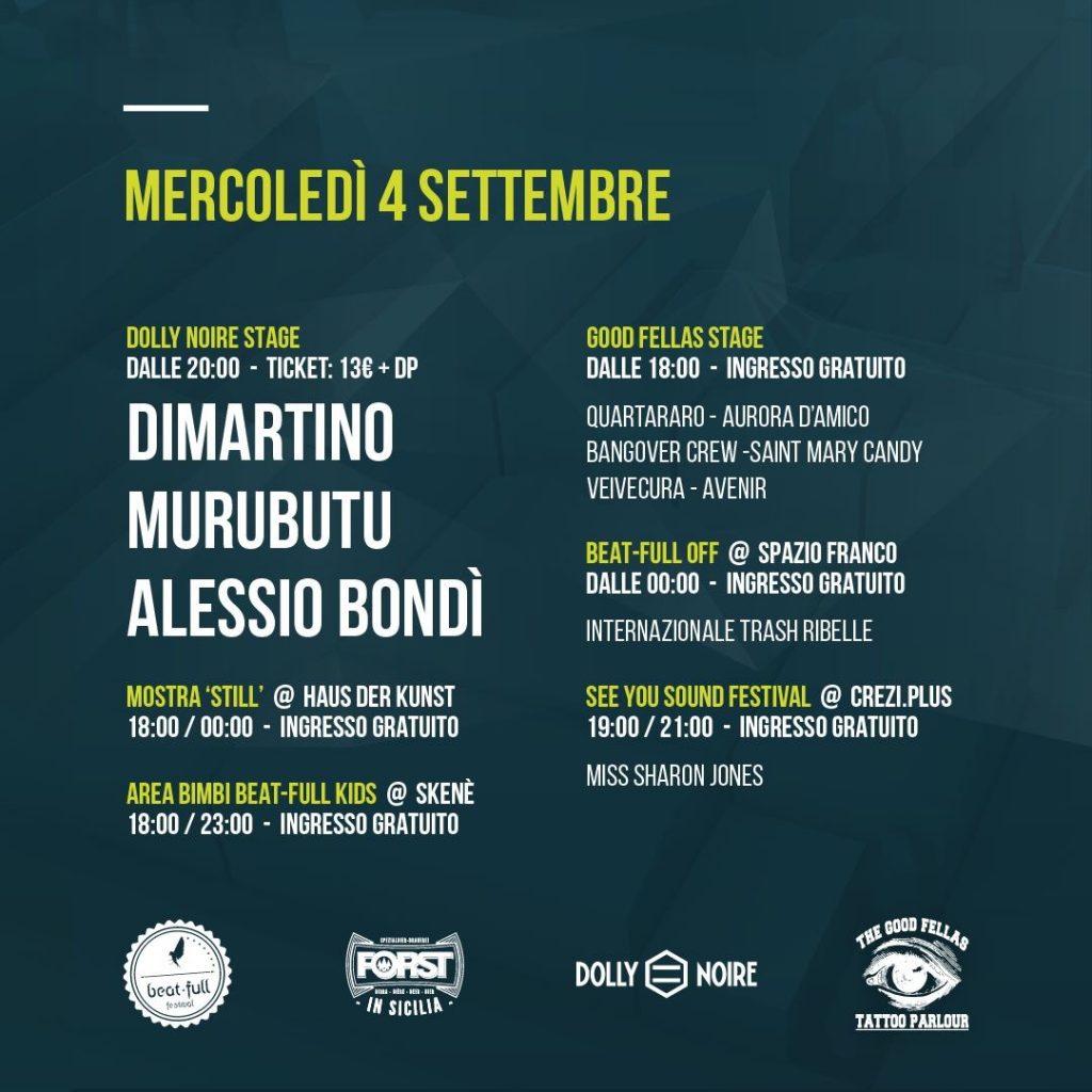 Programma mercoledì 4/09 Beat Full Festival