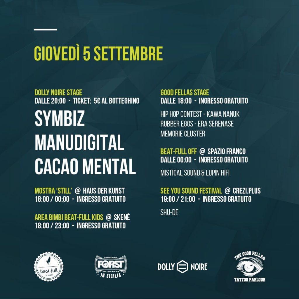 Programma giovedì 5/09 Beat Full Festival