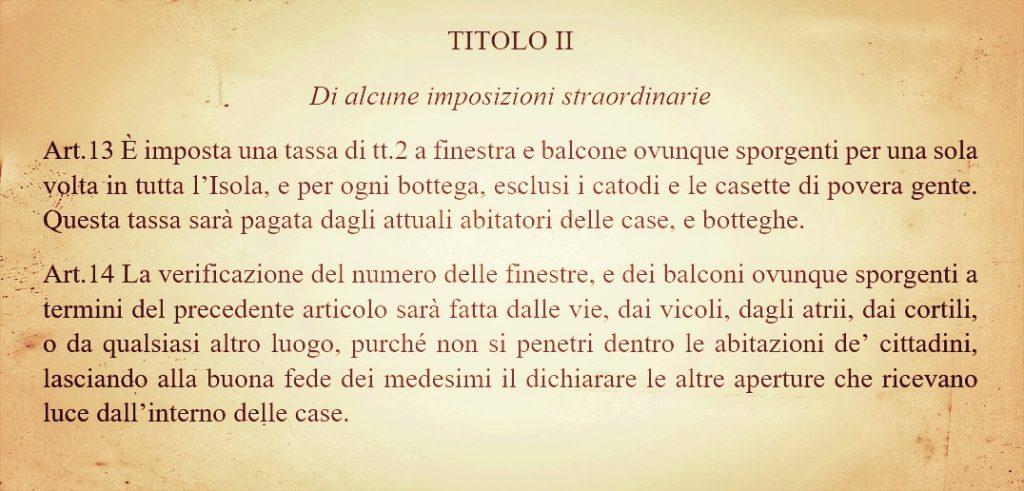 Tassa Su Finestre E Balconi del 1848 a Palermo