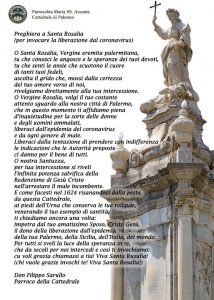 Epidemie a Palermo: Preghiera A Santa Rosalia