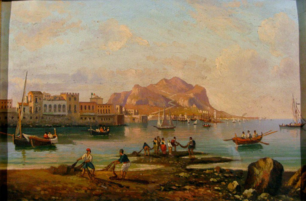 Scuola Siciliana Secolo Xix Veduta Del Golfo Di Palermo Con Pescatori Dipinto Ad Olio Su Carta