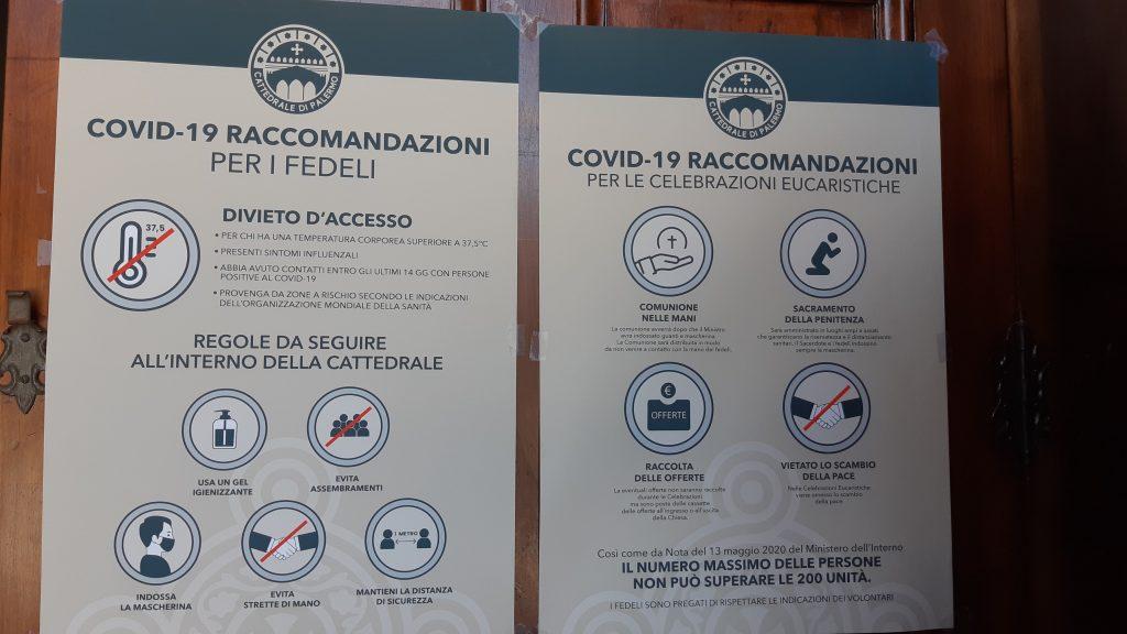Regole da covid-19 dentro la Cattedrale di Palermo