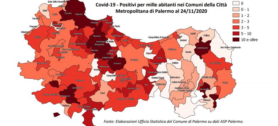 mappa positivi covid palermo e provincia
