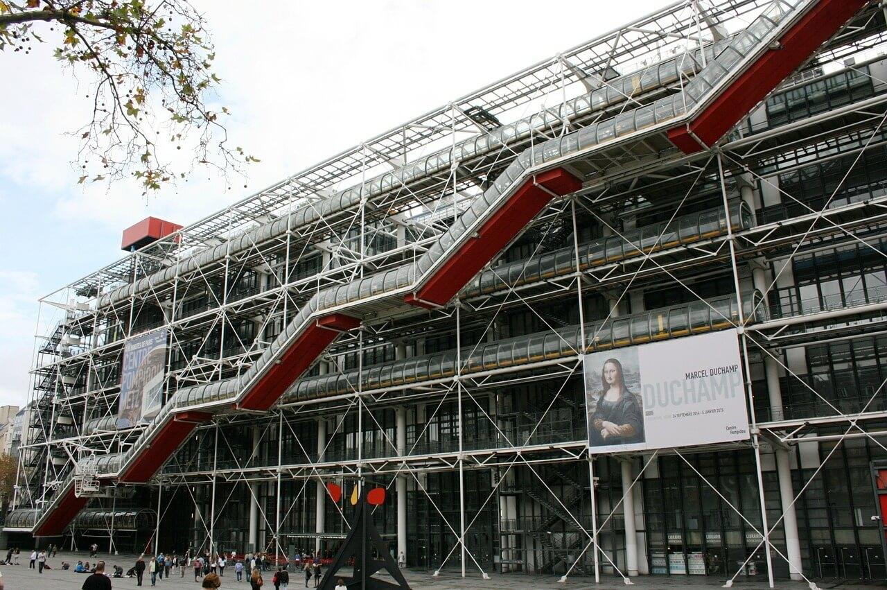 Entrata notturna Centro Pompidou Parigi