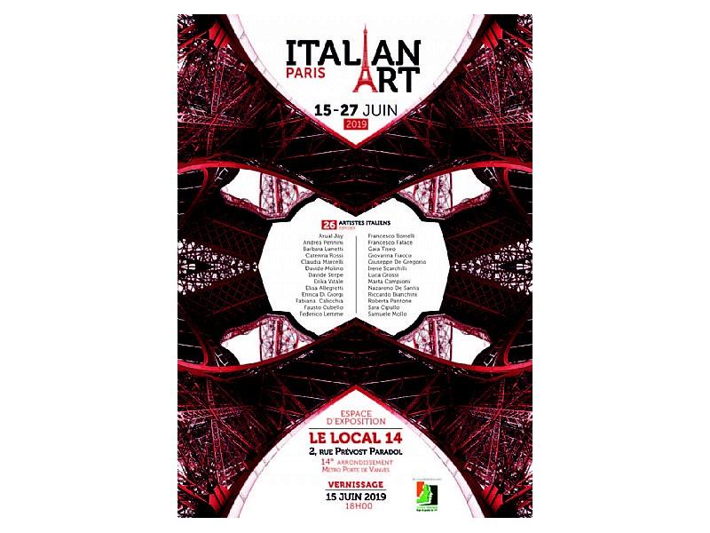 Locandina Italian Art Paris 2019 con i nomi dei 26 artisti italiani