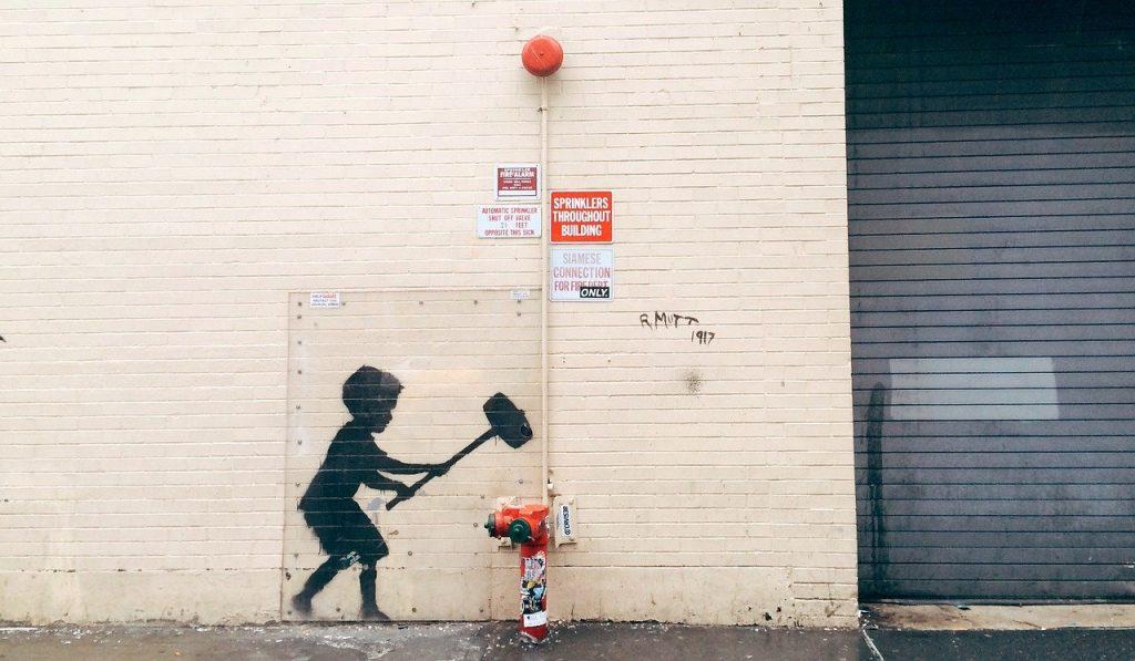 Banksy - Dipinto Bambino Con Idrante