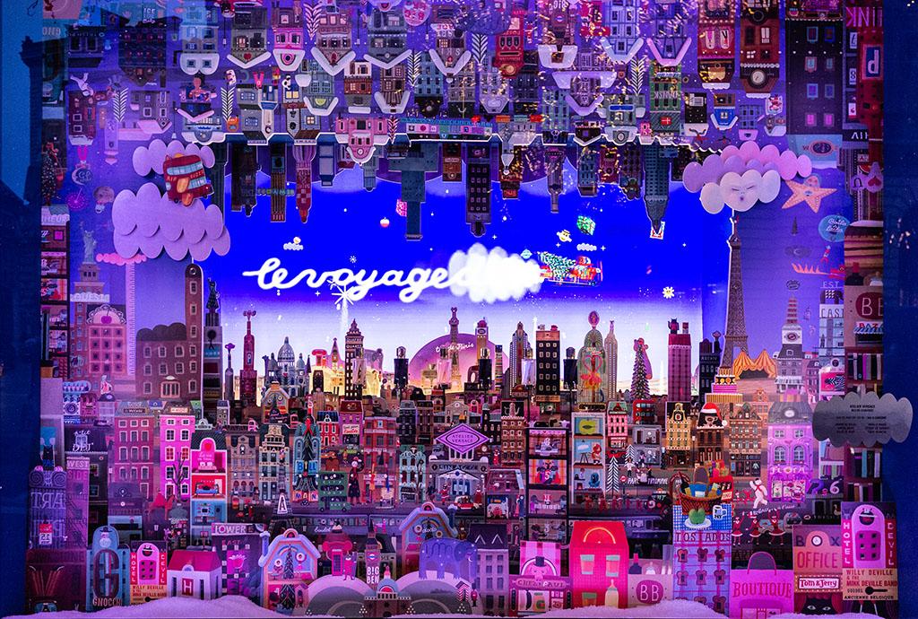 Le vetrine delle Galeries Lafayette - skyline