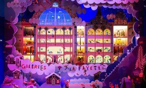 Le vetrine delle Galeries Lafayette - prospetto palazzo Lafayette