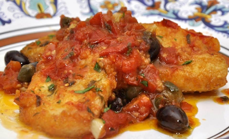 stocco in umido con pomodoro e olive