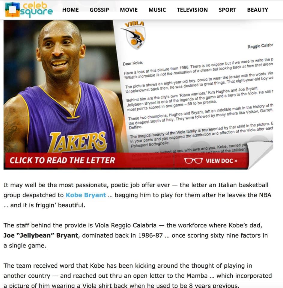 Kobe Bryant messaggio della viola basket di reggio calabria