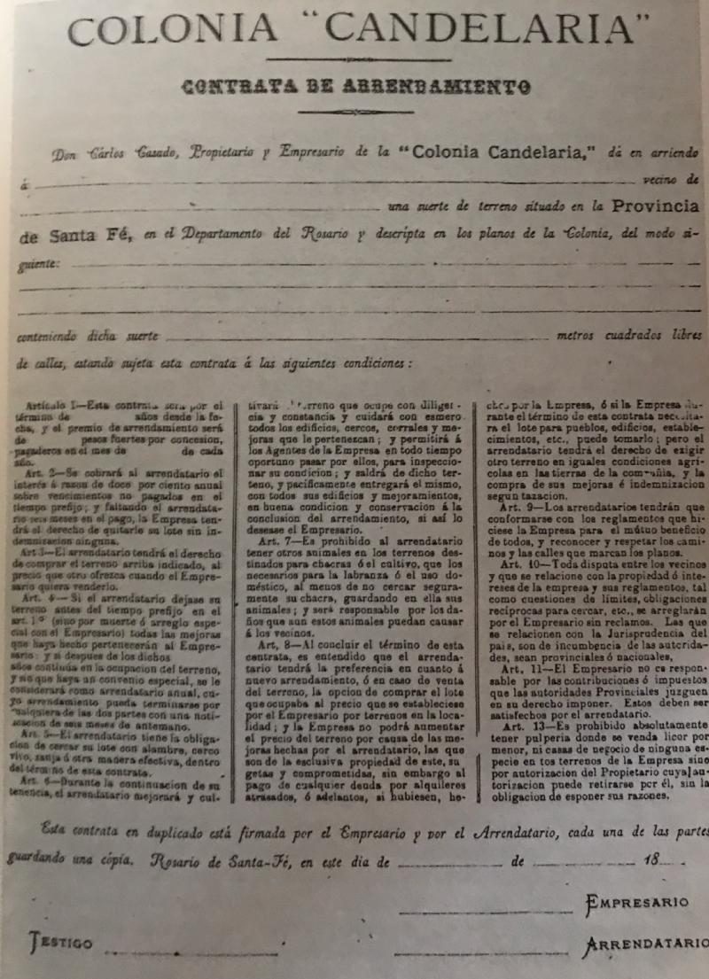 Contrato de venta de Colonia Candelaria