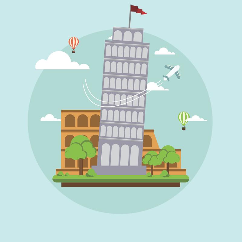 estudiar italiano - Coliseo Y Torre De Pisa