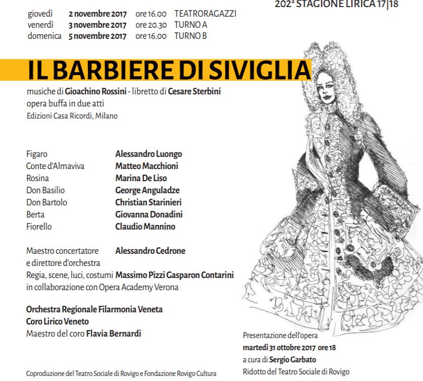 Cartellone di presentazione del Barbiere di Siviglia in programma al teatro sociale di Rovigo ad apertura della stagione lirica 2017
