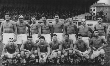 La squadra del Rugby Rovigo allo stadio Battaglini