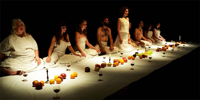 Attori del Teatro del Lemming in scena