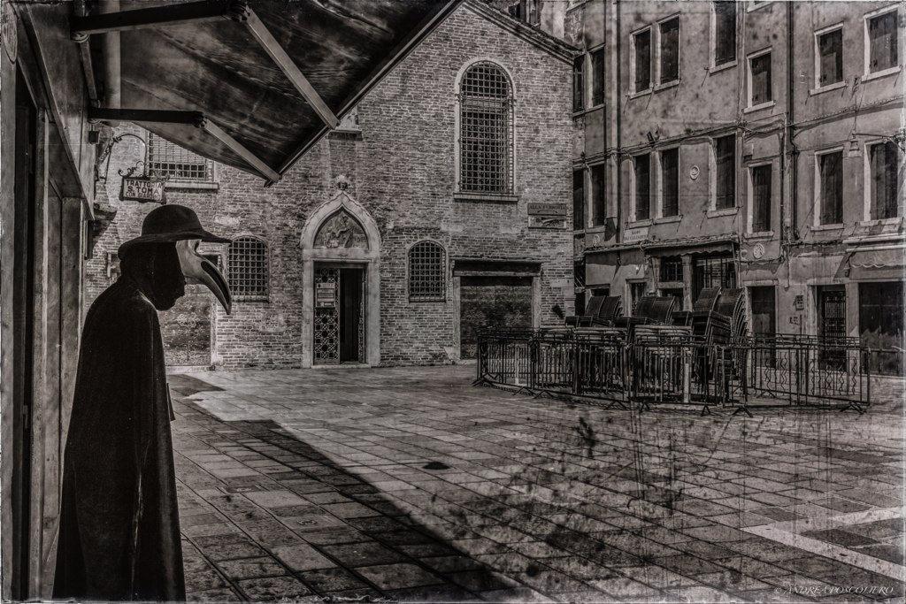 Dipinto di un lazzaretto durante la peste in Polesine