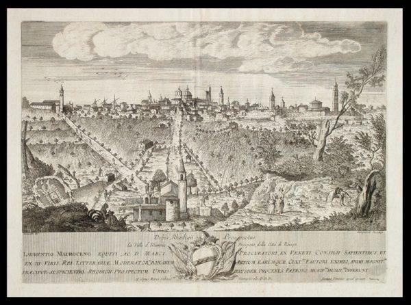 Una vista della città da una vecchia mappa, visibili le fortificazioni durante la dominazione estense