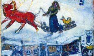 5fa3c342477d4 5fa3c342477d6marc Chagall, La Slitta Nella Neve, 1944, Parigi, Collezione Privata © Chagall ®by Siae 2020.jpg