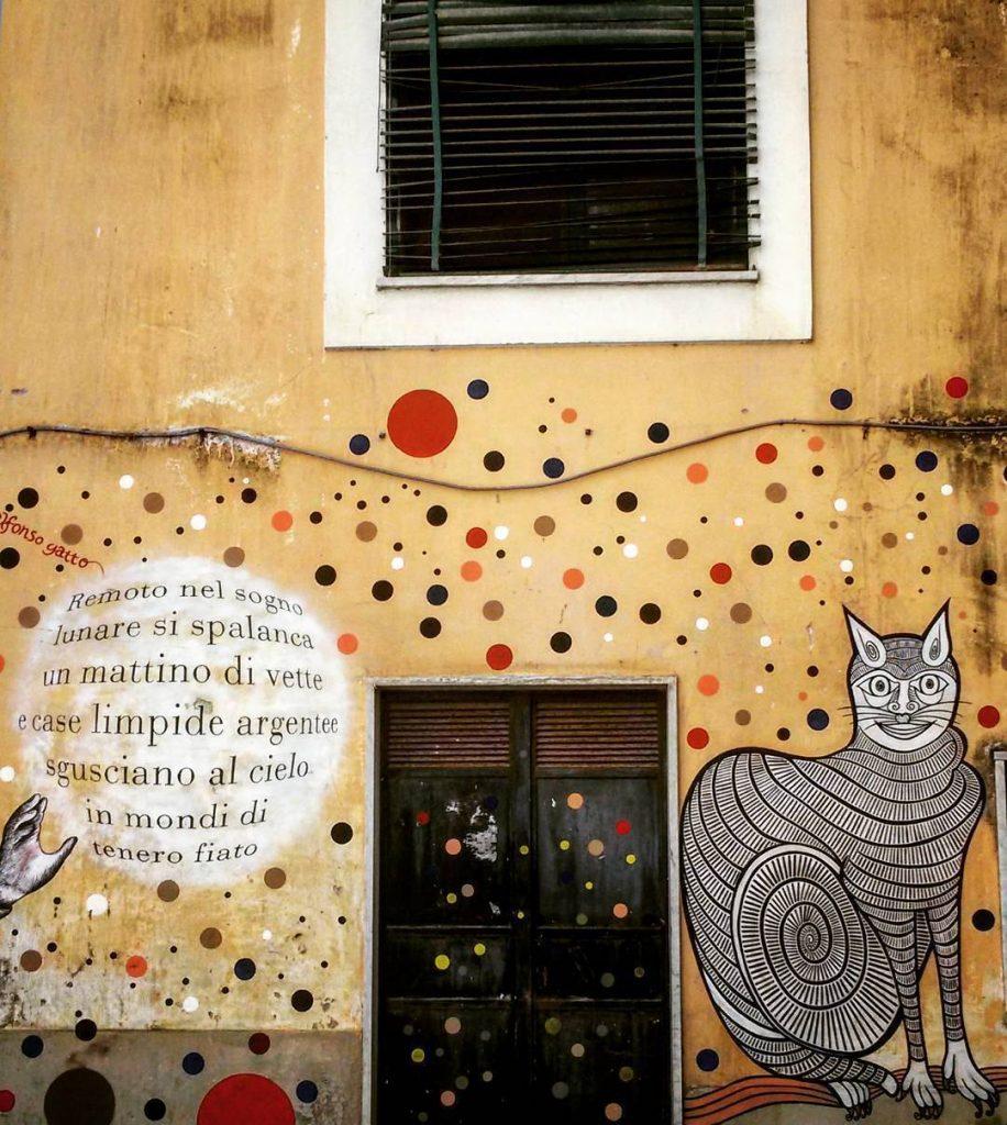 Salerno - murale raffigurante un gatto