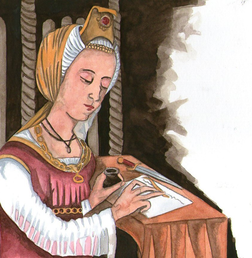 Donne e Medicina- Immagine di Trotula che legge un libro
