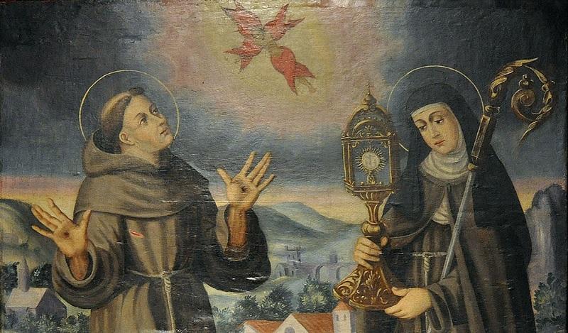 Santa Chiara con Francesco D'Assisi in un dipinto