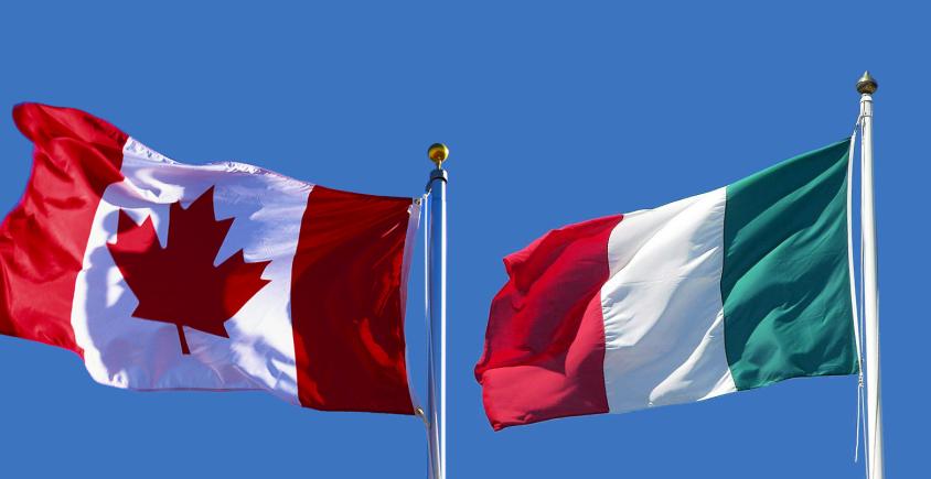 Italiani E Canadesi nelle rispettive bandieri festeggiano l'italian heritage month