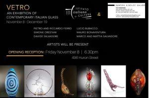 Locandina Evento mostra di vetro italiano contemporaneo