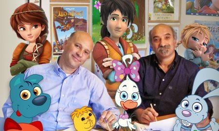 Francesco E Sergio Manfio Con I Characters Dei Propri Cartoon