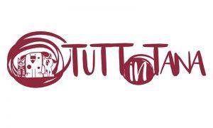 Tuttintana Logo associazione scritta rossa con disegni di cani e gatti