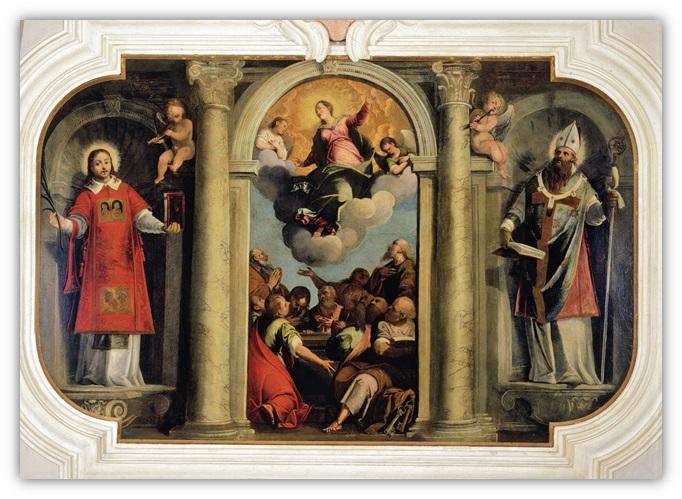 Pala Cosattini, trittico che rappresenta tre figure, La Madonna col Bambino, Sant'Ignazio e San Bernardino