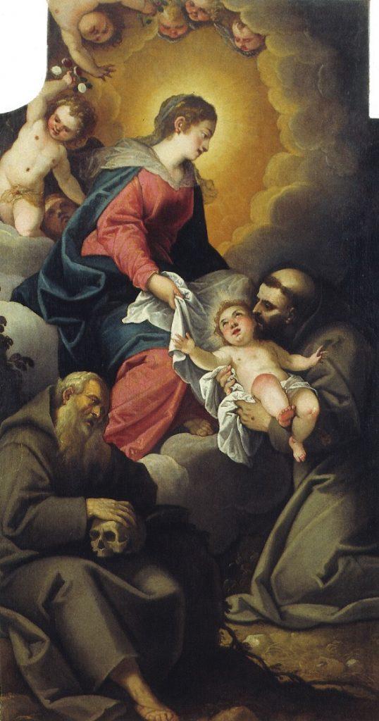 Tela di Maffeo da Verona che rappresenta la Vergine che affida Il Bambino a San Francesco