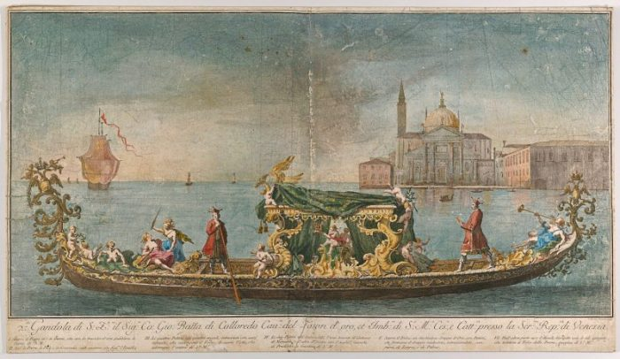 La gondola dell'ambasciatore Giovanni Battista Colloreado in arrivo a Venezia. Di Giovanni Antonio Faldoni e Luca Carlevaris. Anno 1720-30. Metropolitan Museum of Art of New York.