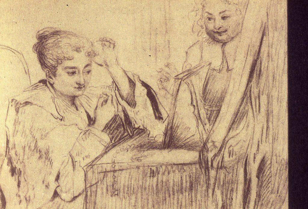 Disegno di Watteau che rappresenta Rosalba Carriera seduta alla toeletta