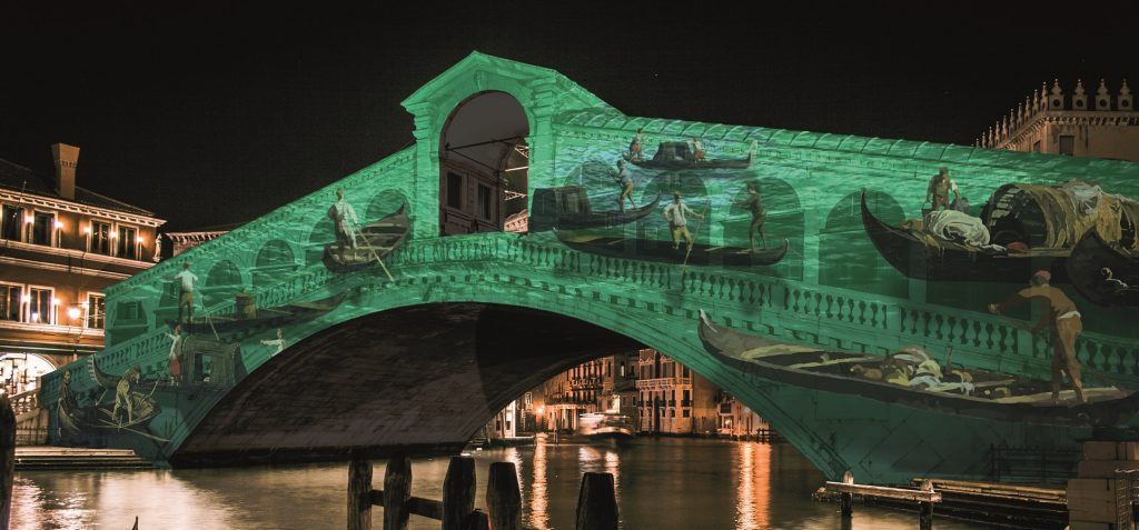 Romantic Streets Of Venice Italy. Rialto Bridge.