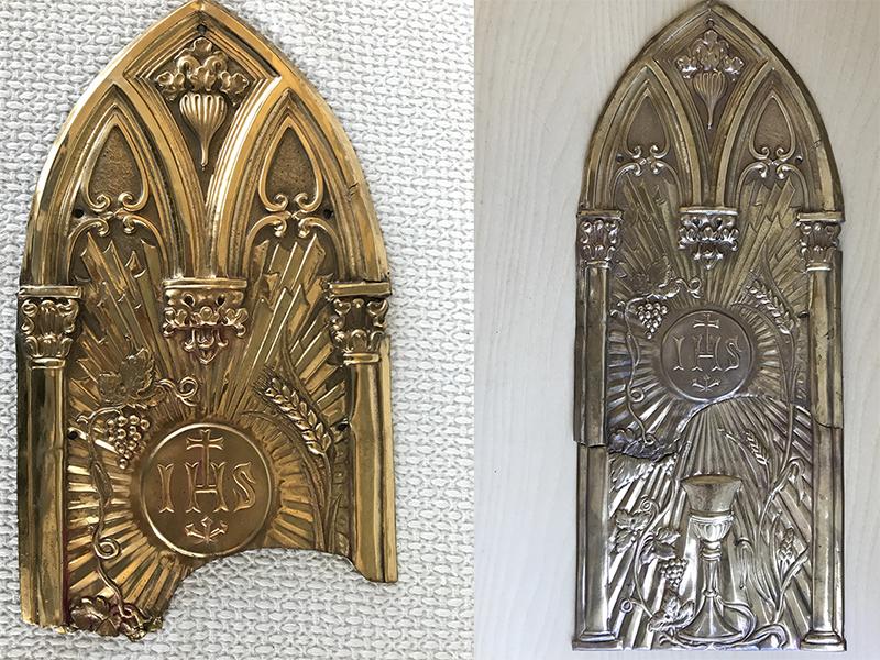 La porta del tabernacolo, prima e dopo.