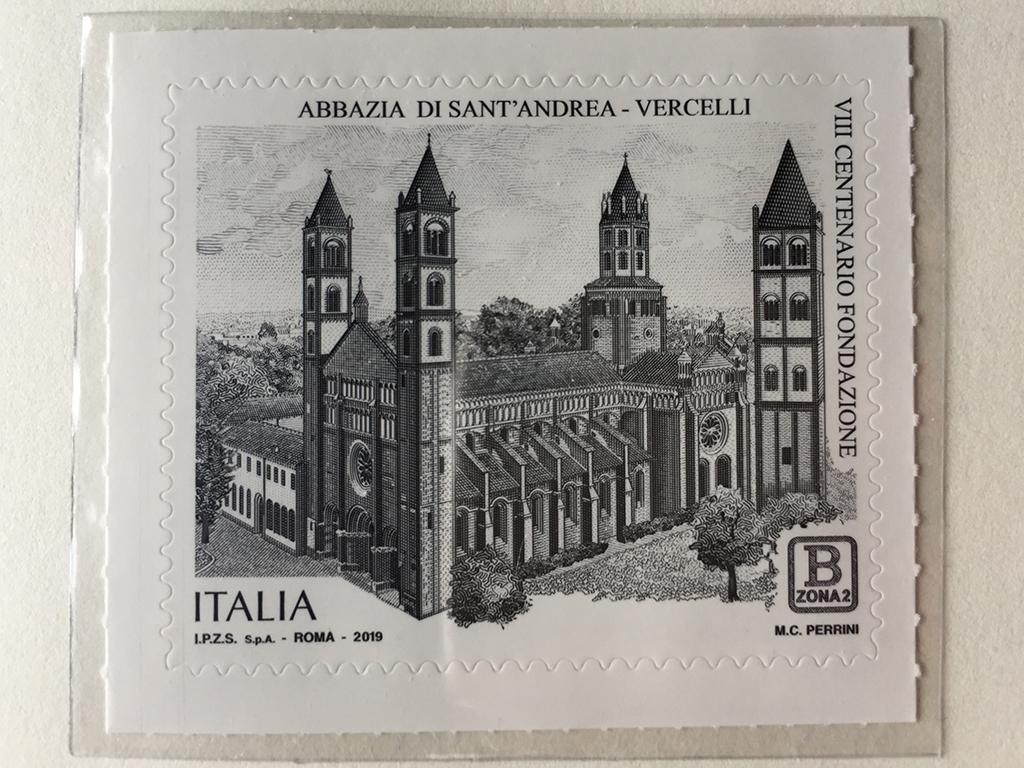 Scannerizzazione del francobollo celebrativo dell'Abbazia di Sant'Andrea
