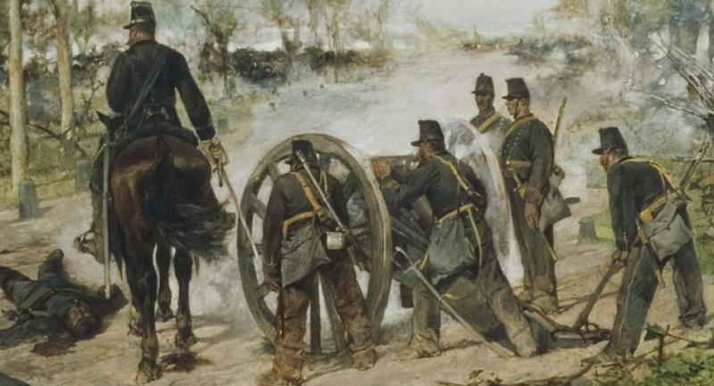 una scena della battaglia di custoza