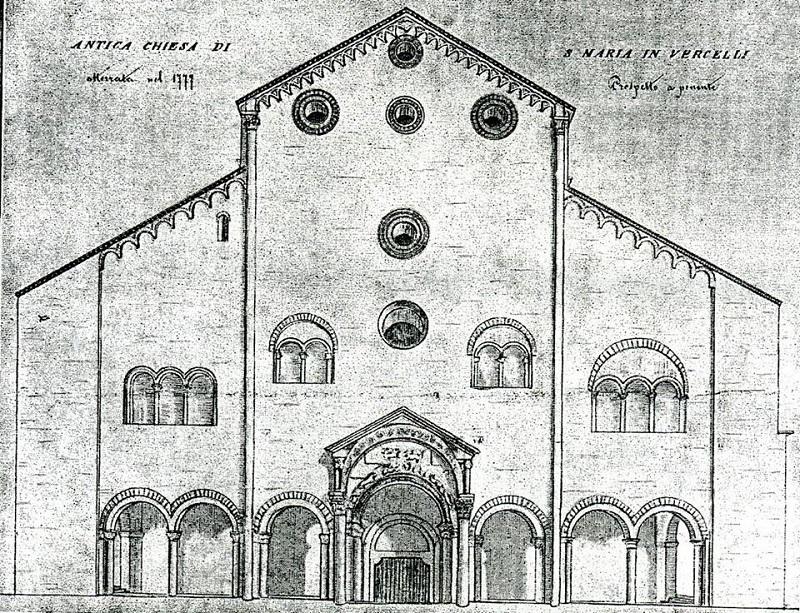 un vecchio disegno della chiesa