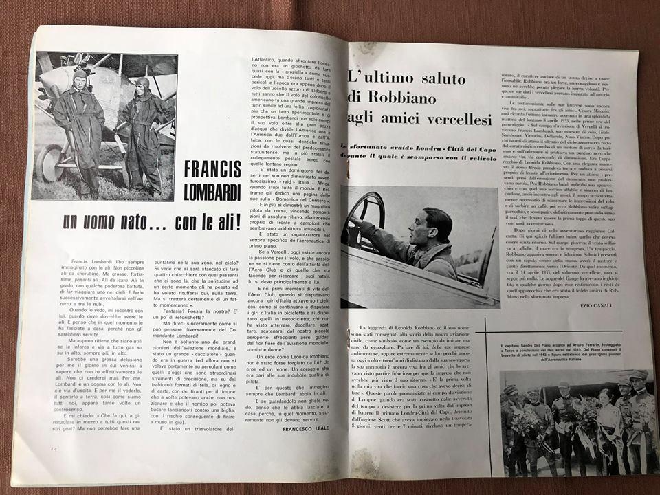Leonida Robbiano sul Giornale di tanti anni fa